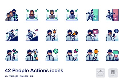 People actions detailed filled outline icons