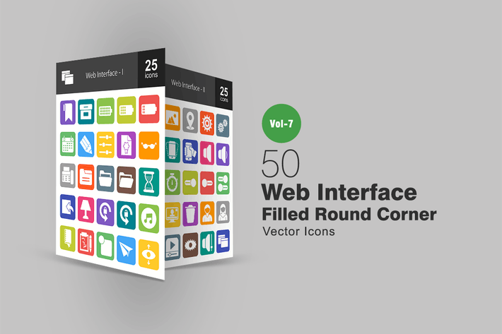 Thumbnail for 50 Web Interface Filled Round Corner Icons