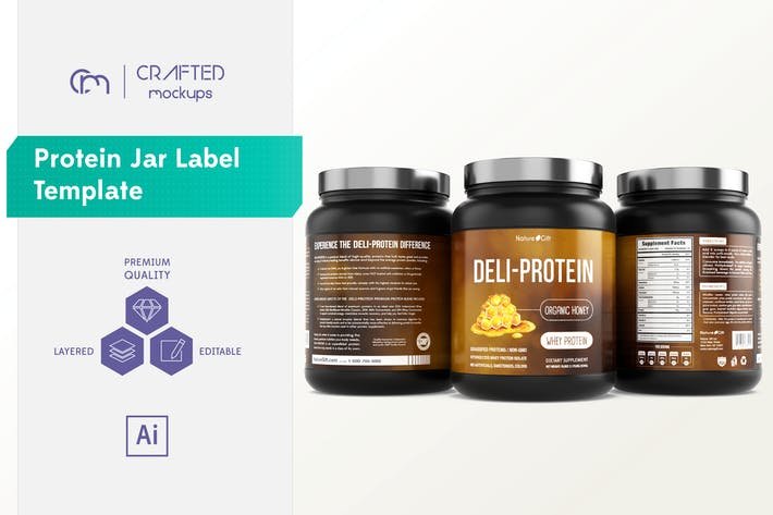 Cover Image For Protein Jar Label Template