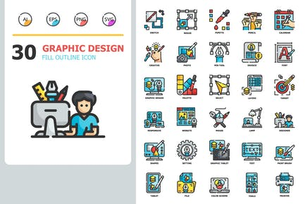 Graphic design Fill Outline Icons