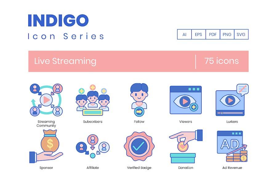 75 Livestreaming-Symbole - Indigo-Serie