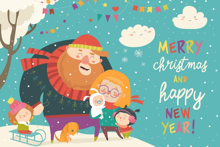 Cover Image For Winter fun. Happy family at winter vacation.
