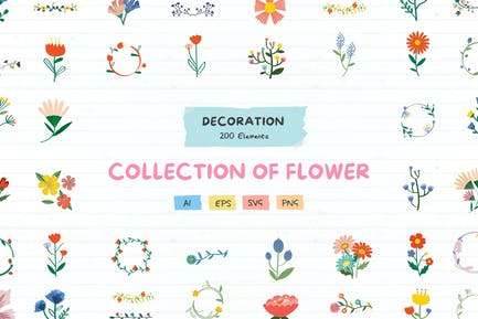 200 flowers and wreath decoration pack