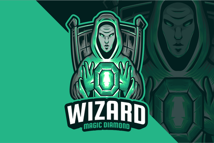 Wizard Magic Diamond Mascot Logo