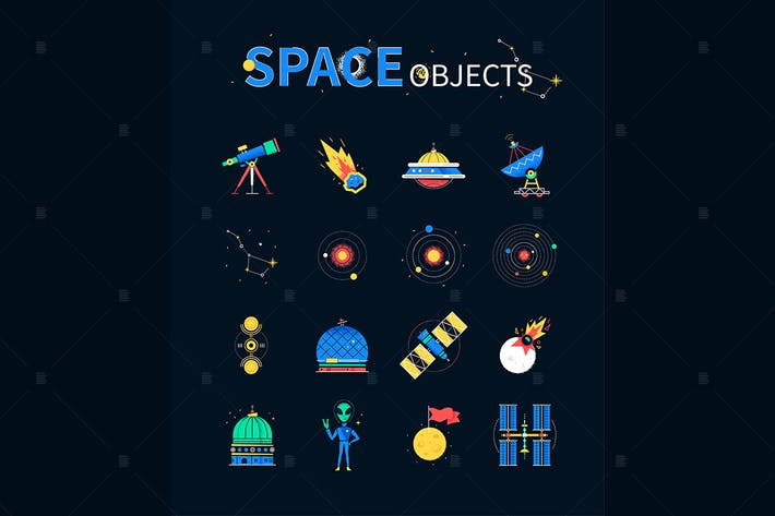 Thumbnail for Space objects - colorful flat design style icons