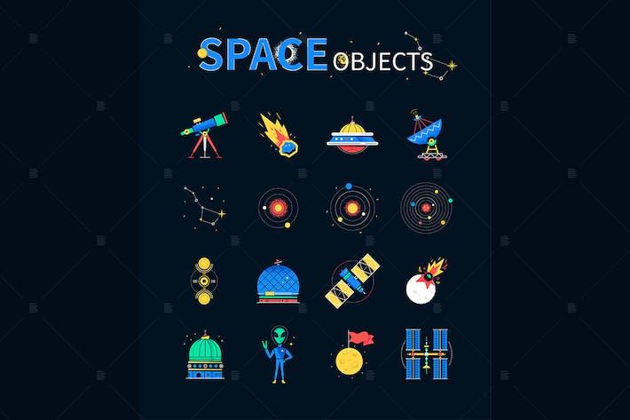 Thumbnail for Raumobjekte - bunte flache Design-Stil-Icons