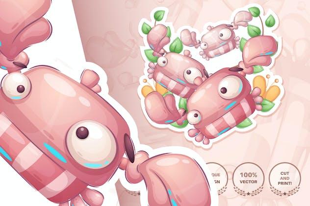 Cartoon character animal crab - seamless pattern
