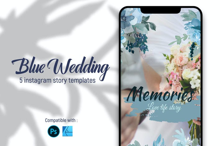 Thumbnail for Blue wedding | Instagram story templates