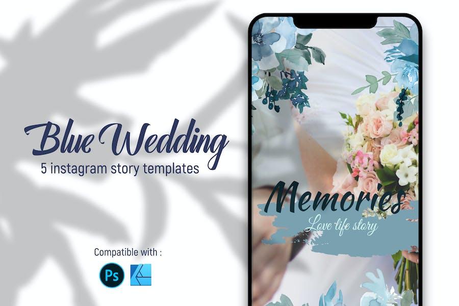 Blue wedding   Instagram story templates