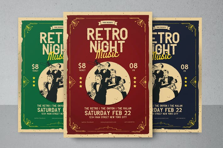 Thumbnail for Retro Night Music Flyer