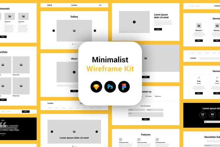 Thumbnail for Minimalist Wireframe Kit