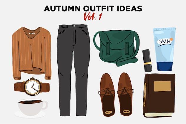 Autumn Outfit Ideas Vector Clip Art vol 1