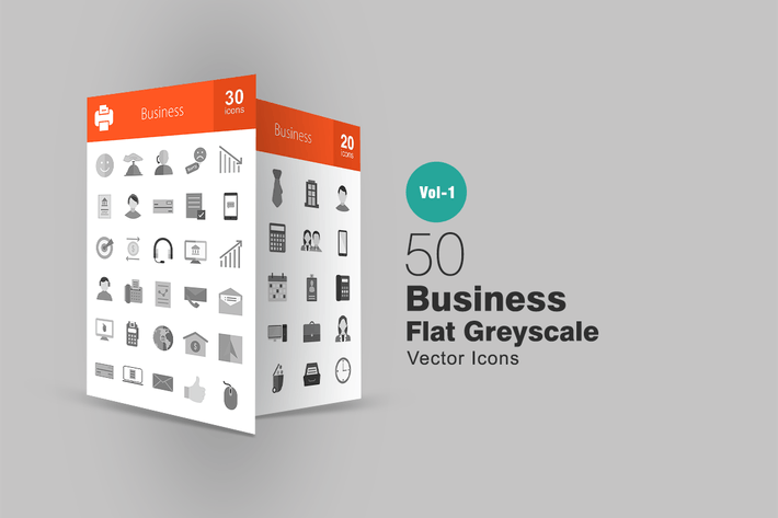 Thumbnail for 50 Business Greyscale Icons