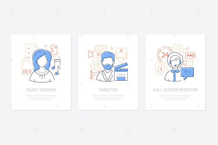 Thumbnail for Verschiedene Berufe - Liniendesign Stil Banner