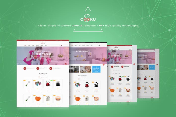 Cover Image For Cooku - Limpio, Simple VirtueMart Plantilla Joomla