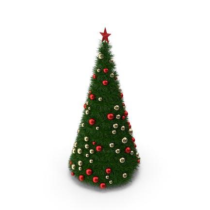 Рождественская елка с золотыми и красными шариками