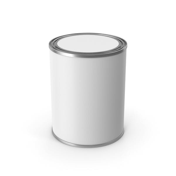Cubo de pintura metálica blanca