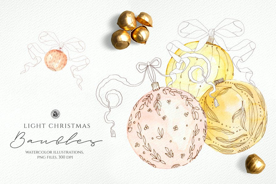 Light Christmas Watercolor Baubles