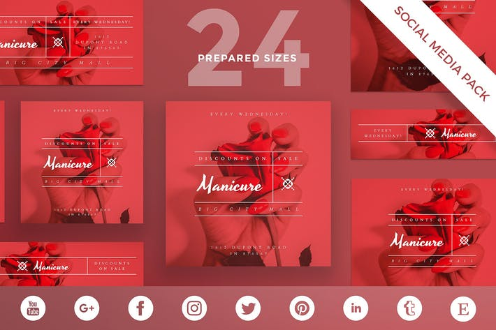 Manicure Nails Social Media Pack Template