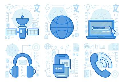 Smartphone Conversation UI UX Illustrations
