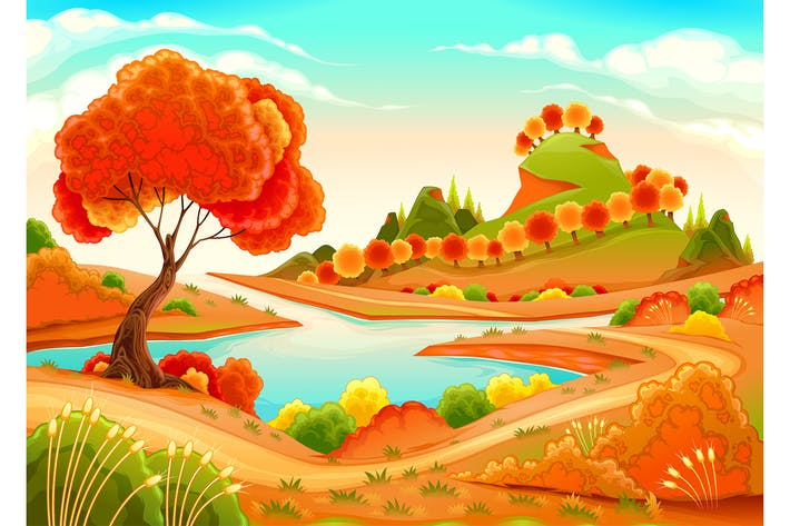 Cover Image For Landscape with Pond Trees and Hills