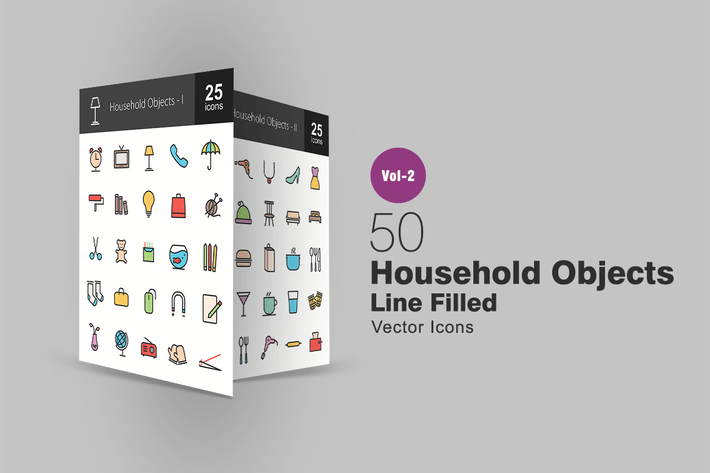 Thumbnail for 50 Household Objects Line Filled Icons