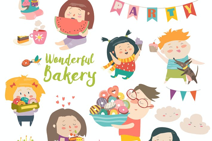 Funny cartoon children and sweets. Vector isolated
