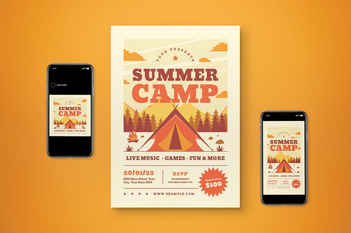 Summer Camp Flyer Set