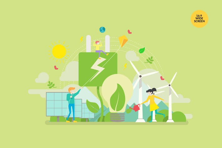 Thumbnail for Green Energy Vector Concept Illustration