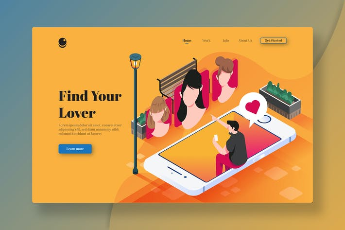 Find Your Lover - Isometric Landing Page