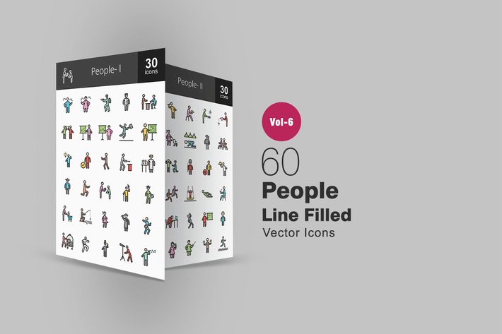 Thumbnail for 60 People Filled Line Icons