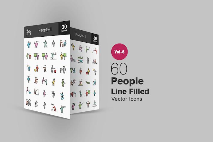 Thumbnail for 60 Menschen gefüllte Linie Icons