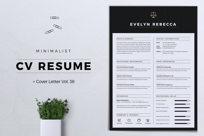 Thumbnail for Minimalist CV Resume Vol. 38