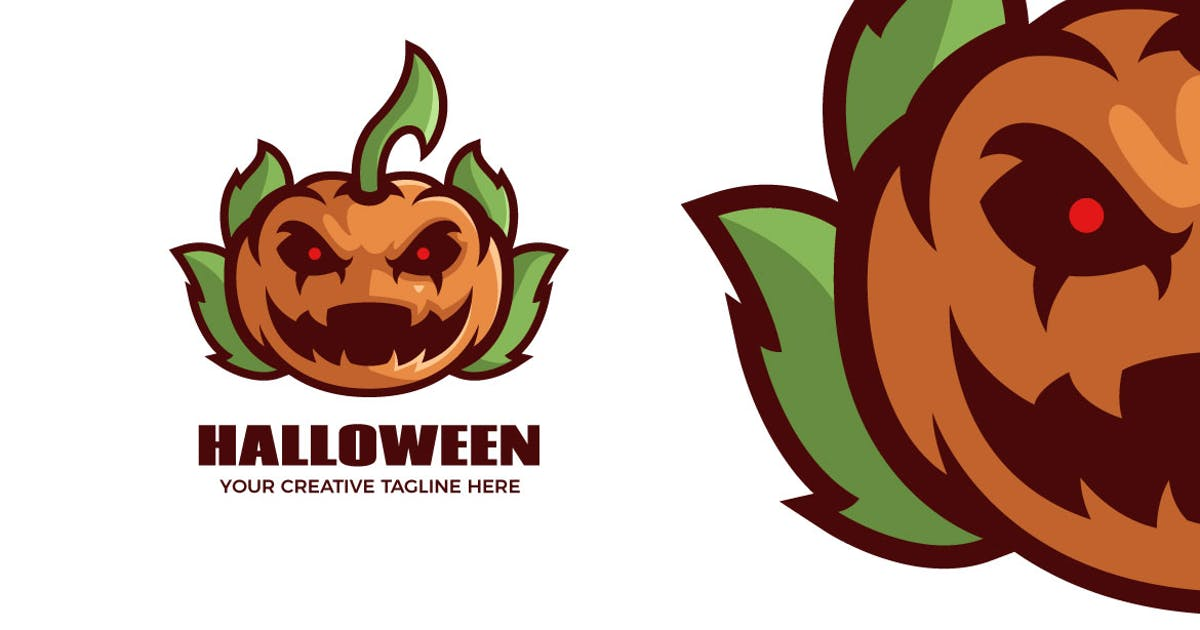 Download Pumpkin Halloween Cartoon Mascot Logo Template by MightyFire_STD