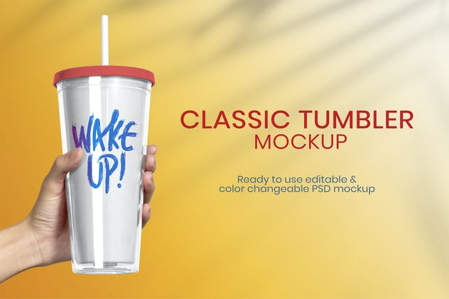 Plastic tumbler product mockup