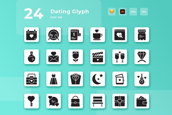 Thumbnail for Valentine Dating Glyph Icon Set