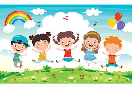 Niños pequeños felices divertirse
