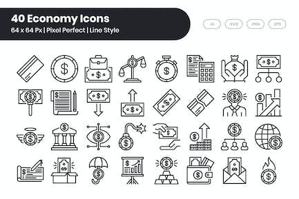 40 Íconos Economy Set - Línea