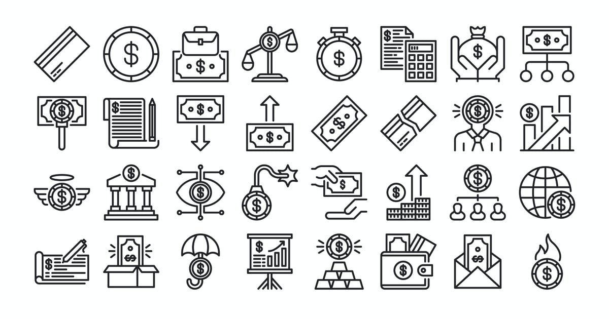 Download 40 Economy Icons Set - Line by kmgdesignid