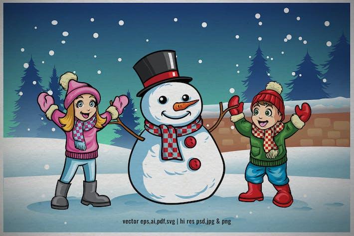 cartoon kids playing in the winter christmas night