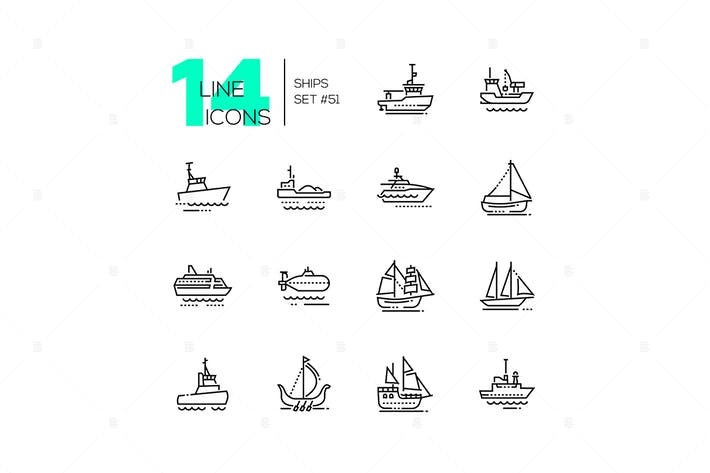 Thumbnail for Water transport - thin line design icons set