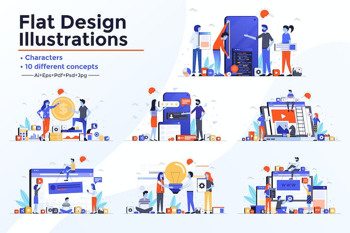 Cover Image For Modern Flat design People and Business concepts
