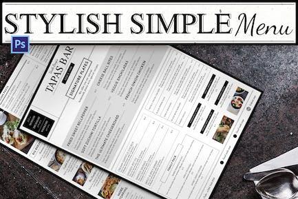 Stilvolles einfaches Menü
