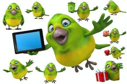 10 Green Birds !