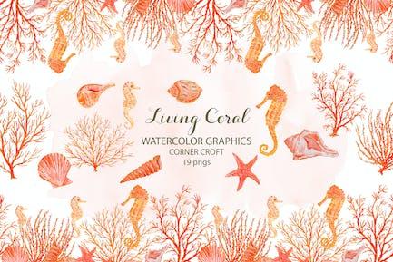 Aquarell Clipart lebende Koralle