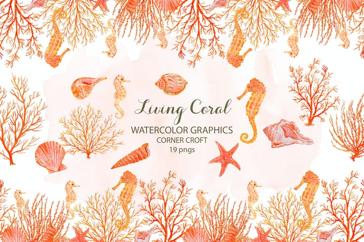 Thumbnail for Watercolor clipart living Coral