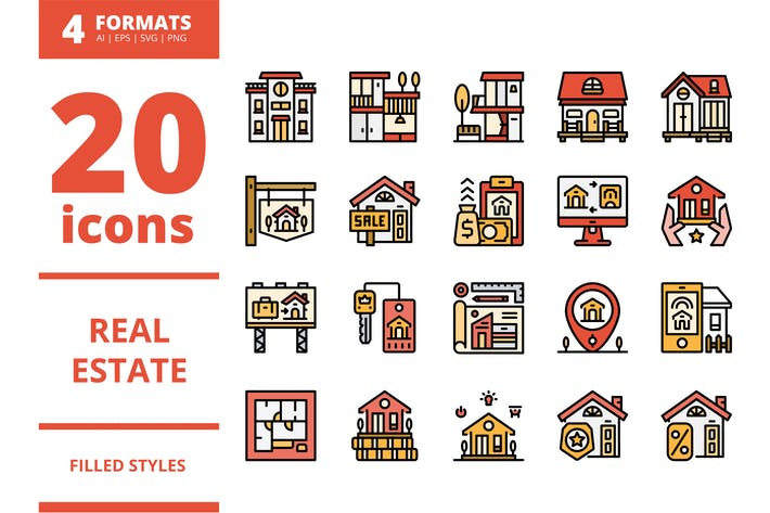 Thumbnail for Real Estate Filled icons packs