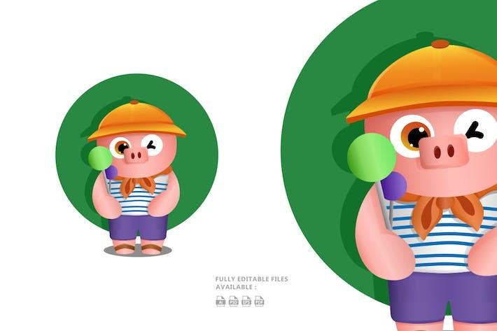 Thumbnail for Cute Pig Illustration