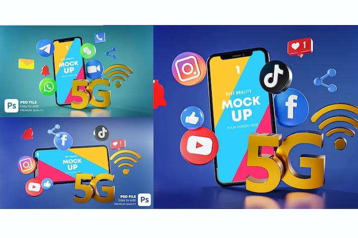 Thumbnail for 5G Most Popular Social Media Phone Mockup