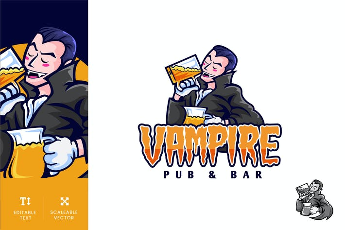 Vampire Pub And Bar Logo Illustration Vecteur